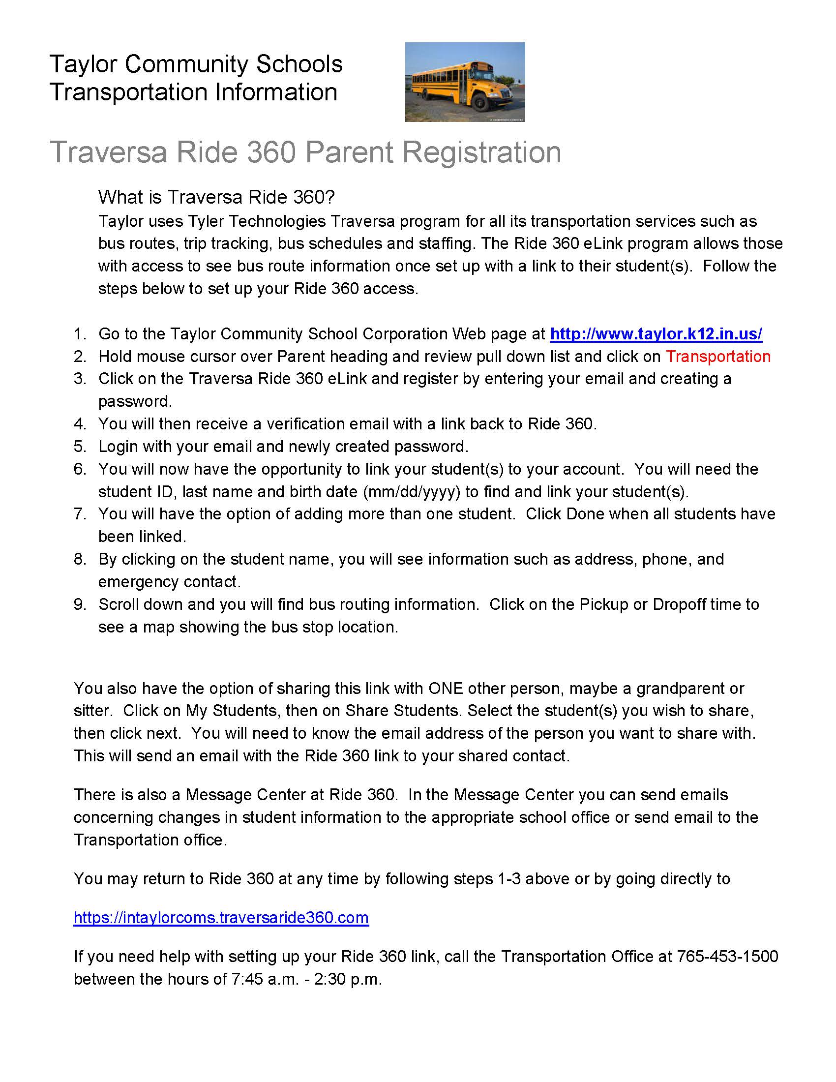 Traversa Ride360 Parent Logon 2019 20